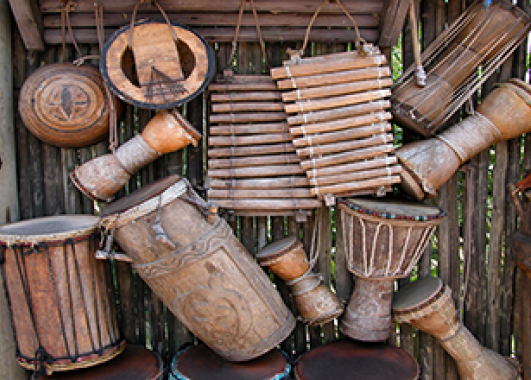A variety of African drums and other instruments