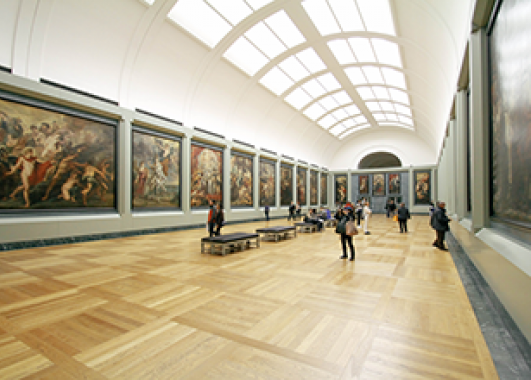 museum with historical portraits.