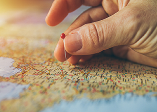 a person's hand placing a pin on a map.