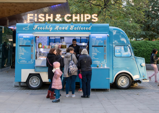 Teal Fish and Chips food truck