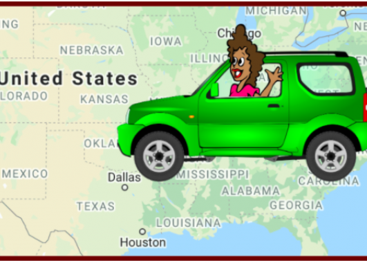 Woman in Car Driving Over Map of U.S.