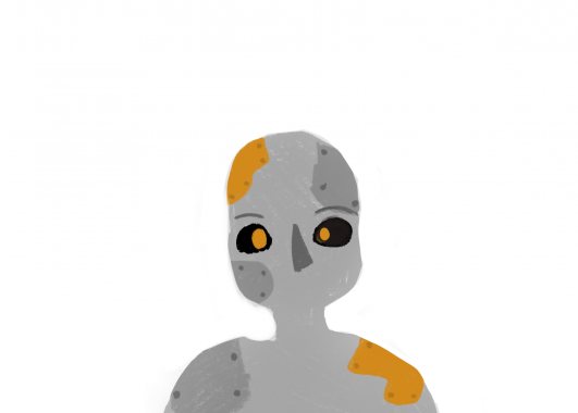An image of a robot graphic. It is gray with gold patches.
