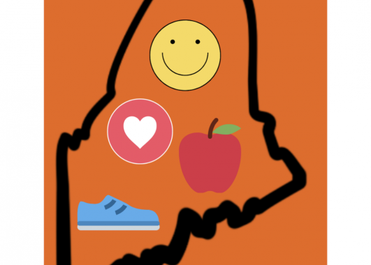 Outline of Maine with A Healthy ME title. Inside the outline there is a smiling face, a heart, an apple, and a sneaker. These represent the various aspects of health.