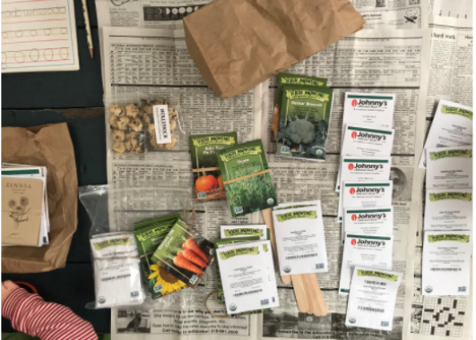 Seed Packets arranged on a newspaper-covered table